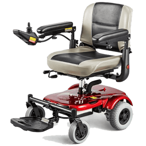 EZ-GO Lightweight Portable Power Wheelchair P321 - Red Leftside