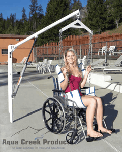 Woman Lifted from a Wheelchair using EZ 2 Manual Pool Lift by Aqua Creek | Wheelchair Liberty