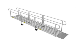 Expanded Metal Surface On 2 lines Handrail  - PATHWAY® 3G Modular Access System Solo Kits Wheelchair Ramp by EZ-ACCESS® | Wheelchair Liberty