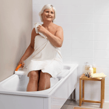 Fresh Bath Board Woman Using On Tab