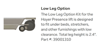 Low Leg option - Hoyer Presence Pro Bariatric Electric Patient Lift by Joerns | Wheelchair Liberty