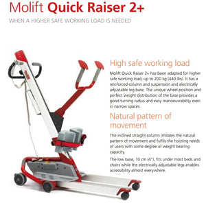 Molift Quick Raiser 2+ - Electric Powered Patient Transfer Platform & Mobile Hoist Lift by ETAC - Wheelchair Liberty