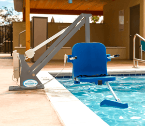 Gray Frame, Blue Seat - Ranger 2 Powered Pool Lift ADA Compliant by Aqua Creek | Wheelchair Liberty