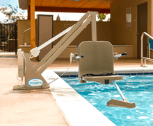 Tan Frame and seat - Ranger 2 Powered Pool Lift ADA Compliant by Aqua Creek | Wheelchair Liberty
