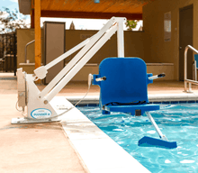 White Frame, Blue Seat - Ranger 2 Powered Pool Lift ADA Compliant by Aqua Creek | Wheelchair Liberty
