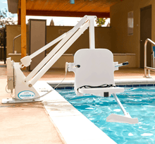White Frame, White SEat - Ranger 2 Powered Pool Lift ADA Compliant by Aqua Creek | Wheelchair Liberty