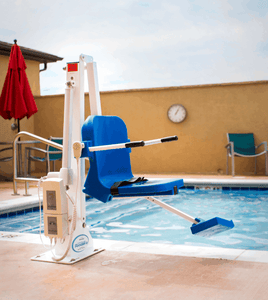 Installed by the pool - Ranger 2 Powered Pool Lift ADA Compliant by Aqua Creek | Wheelchair Liberty