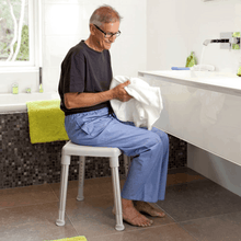 Smart Rectangular Shower Stool Man With Stool In Bathroom