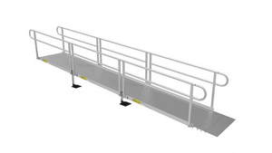 Solid Metal Surface 2 line Handrail - PATHWAY® 3G Modular Access System Solo Kits Wheelchair Ramp by EZ-ACCESS® | Wheelchair Liberty