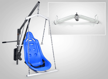 Spreader Bar and Hard Seat Close Up - Super Power EZ Above-Ground Pool lift by Aqua Creek | Wheelchair Liberty