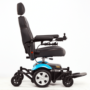 Vision Sport Mid-Wheel-Drive Power Wheelchair P326A - Side View Blue