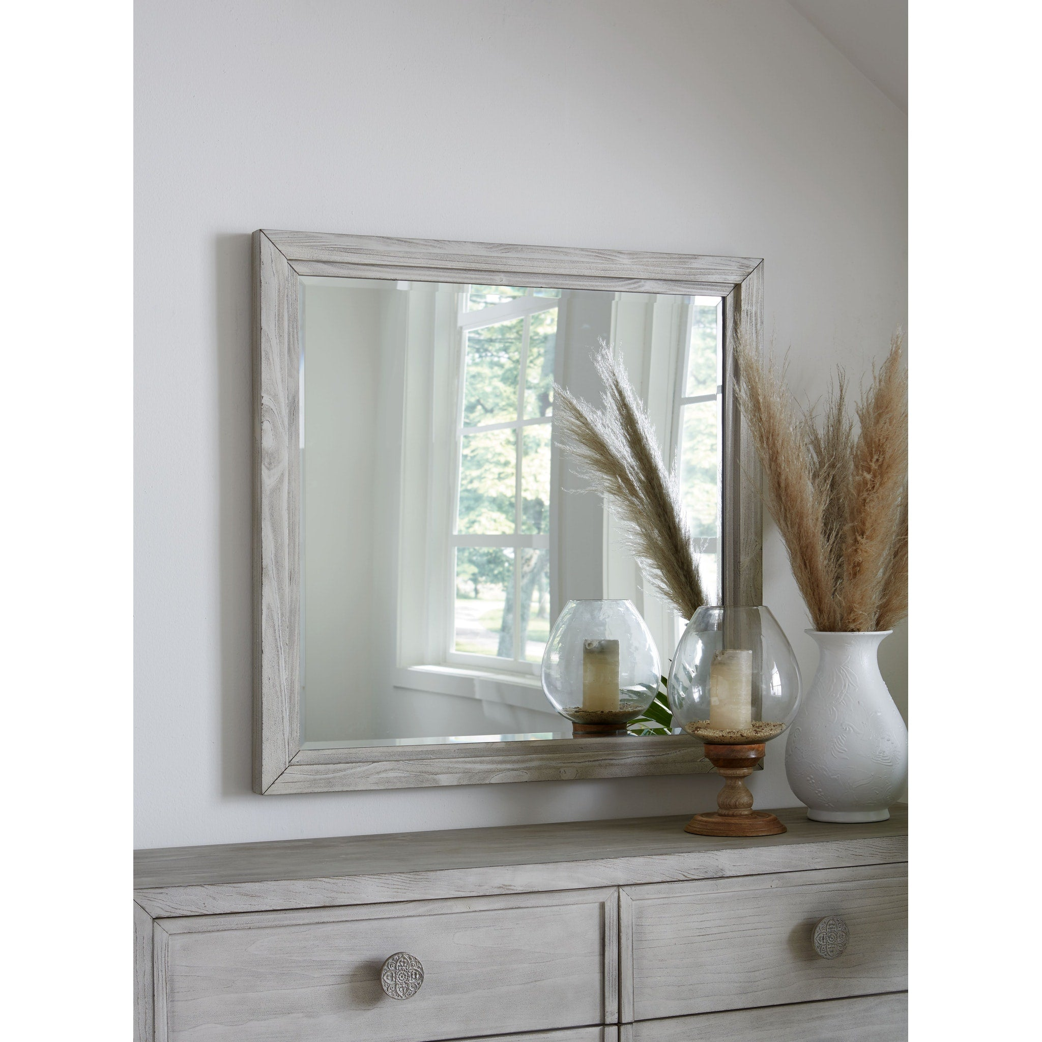 Boho Chic Plain Mirror In Washed White Top Drawer Furniture