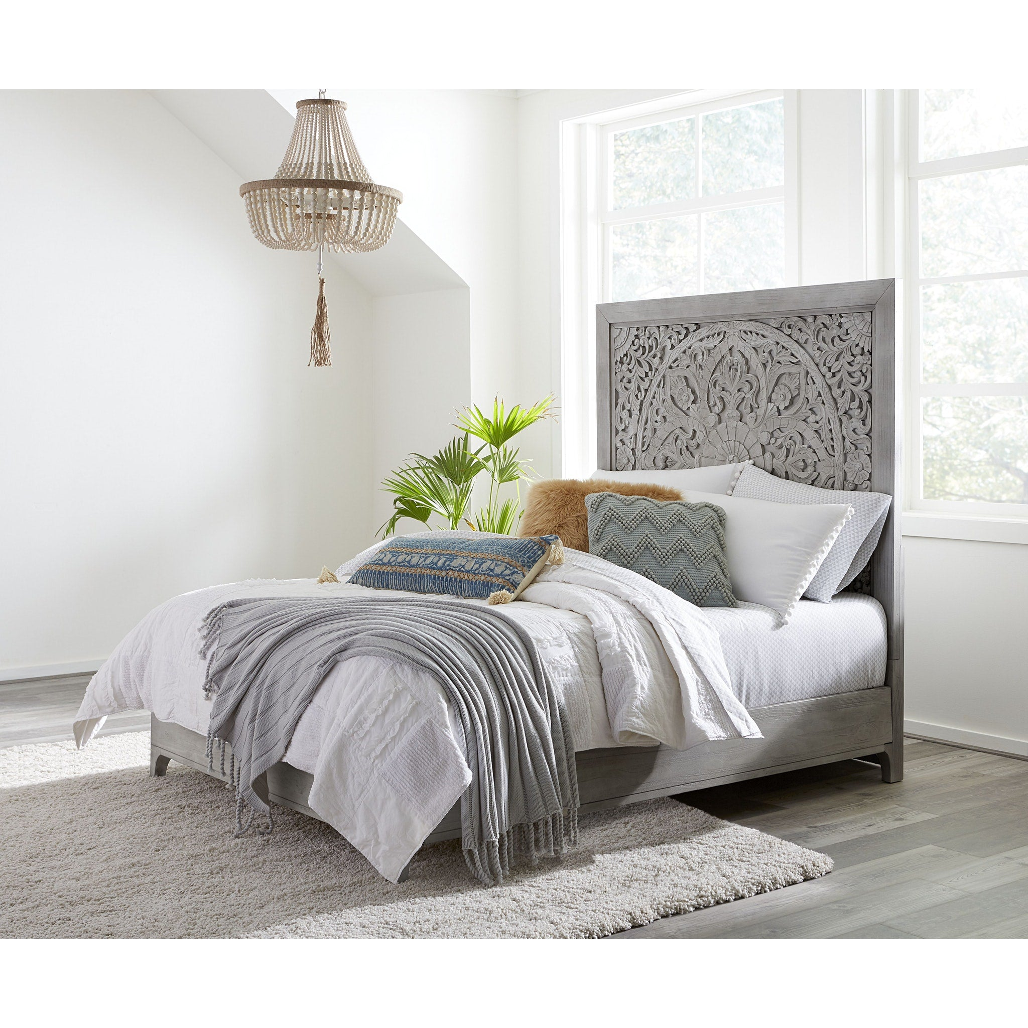 Boho Chic Queen Size Bed in Washed White