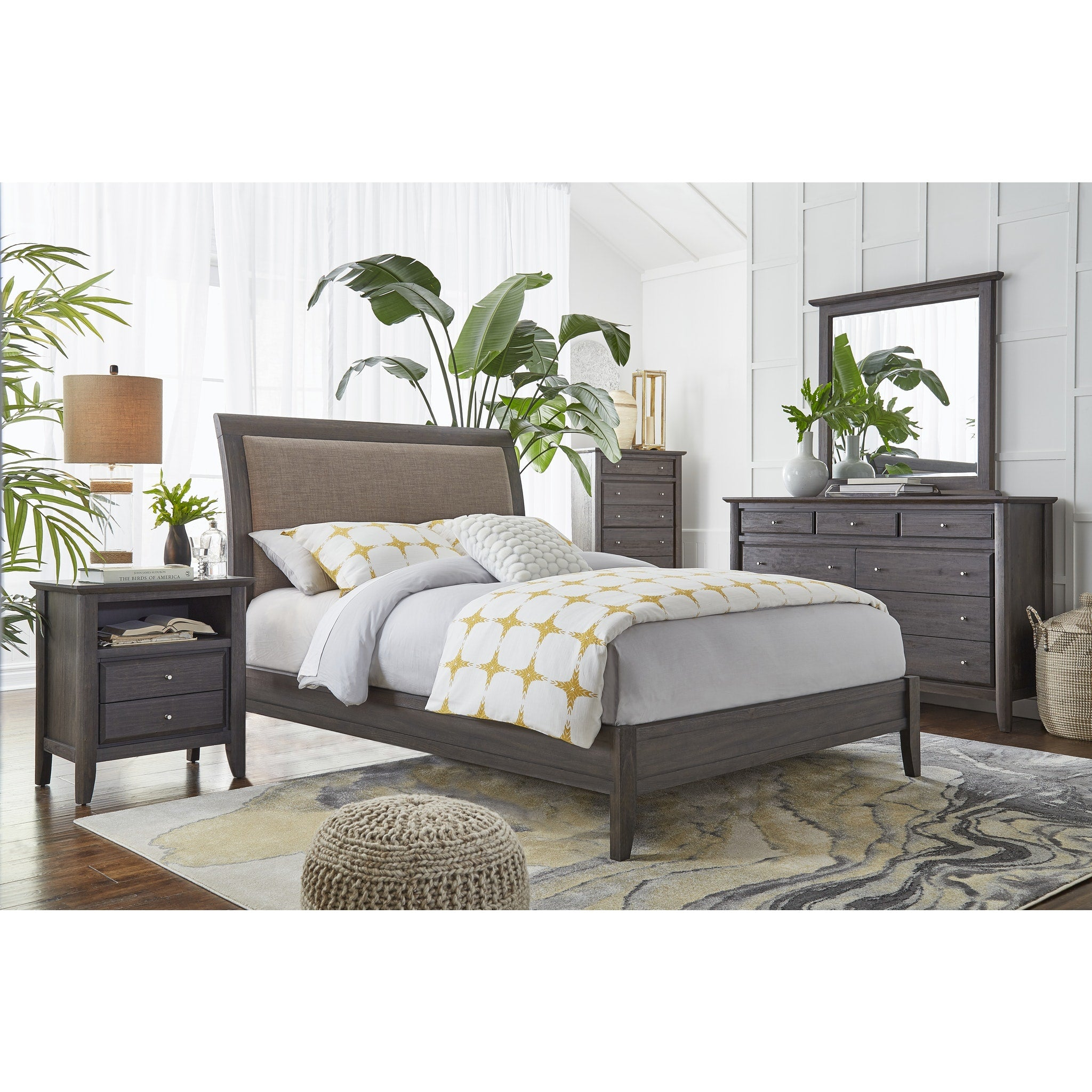 City II California King-size Upholstered Sleigh Bed in Basalt Gray