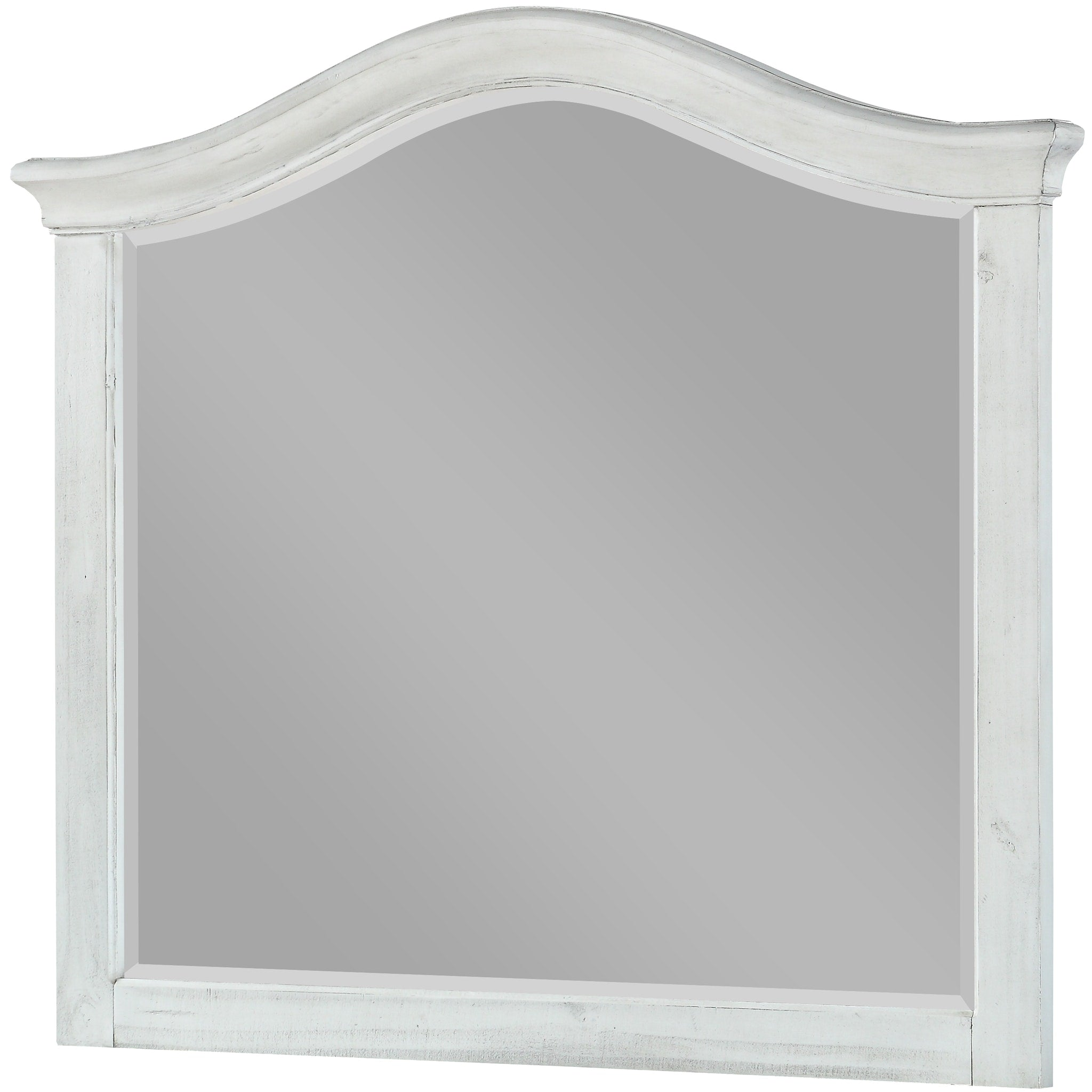 Ella Solid Wood Beveled Glass Mirror in White Wash