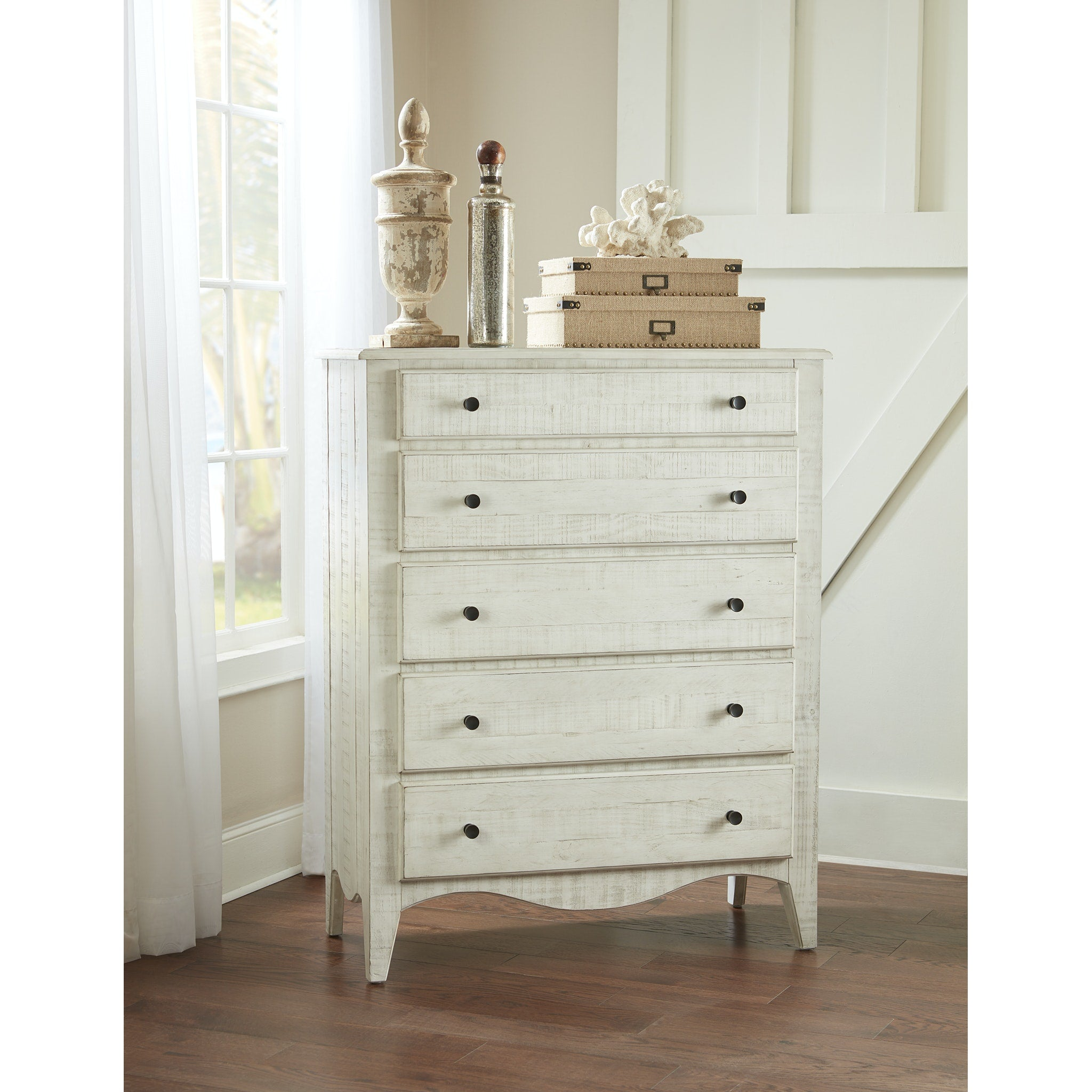 Ella Solid Wood Five Drawer Chest in White Wash