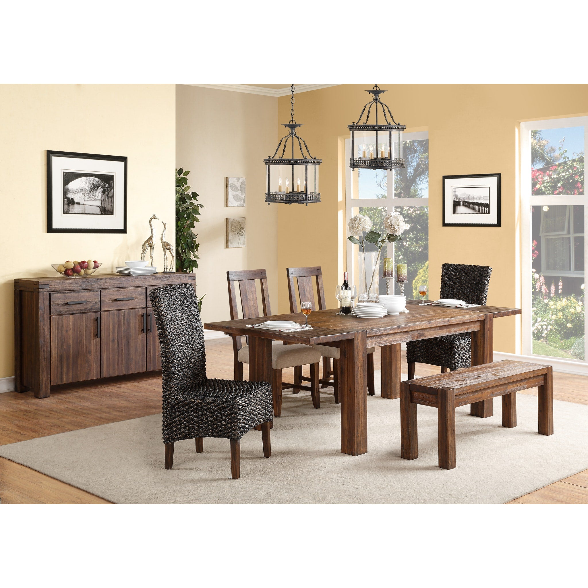 Meadow Solid Wood Extending Dining Table in Brick Brown