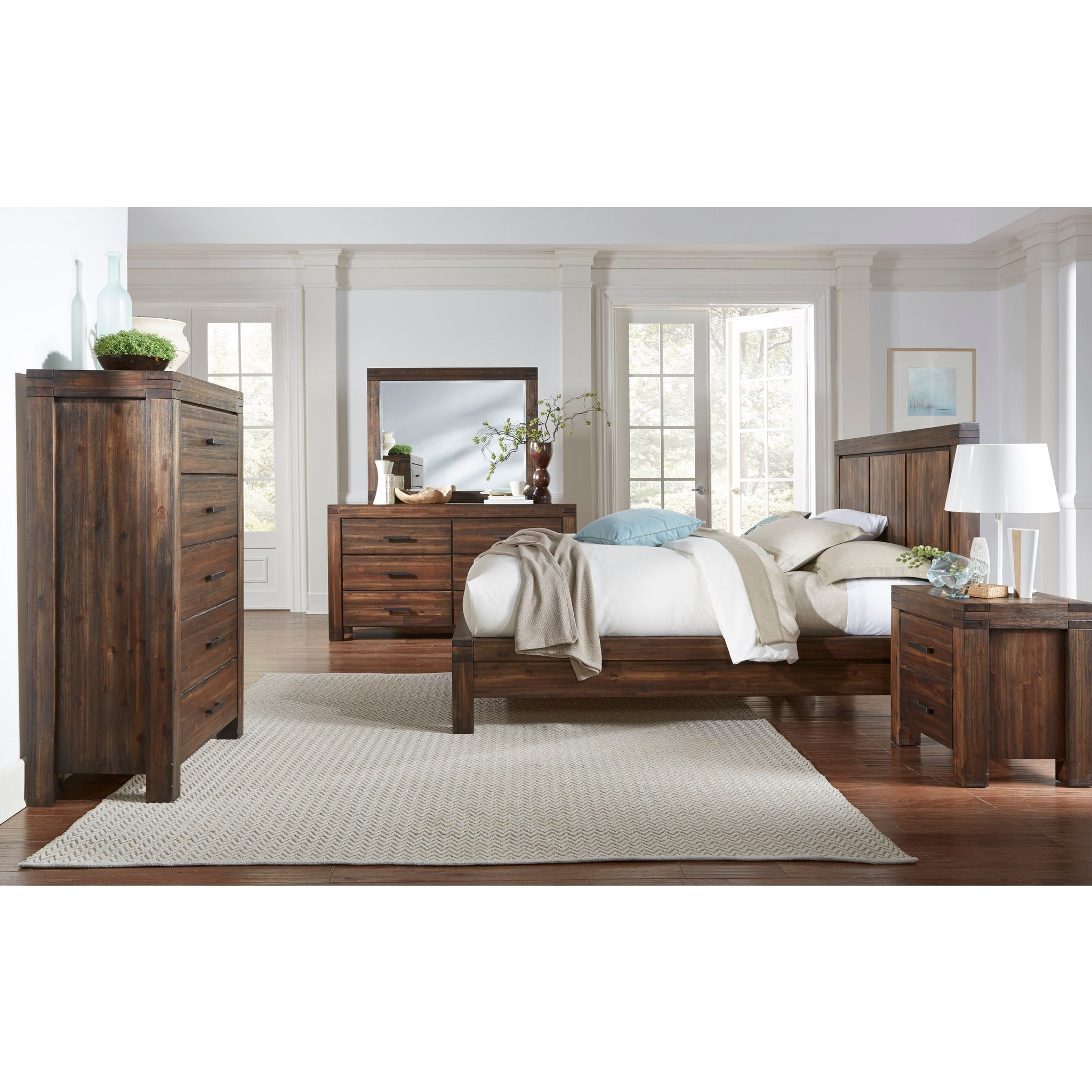 Meadow Six Drawer Solid Wood Dresser in Brick Brown