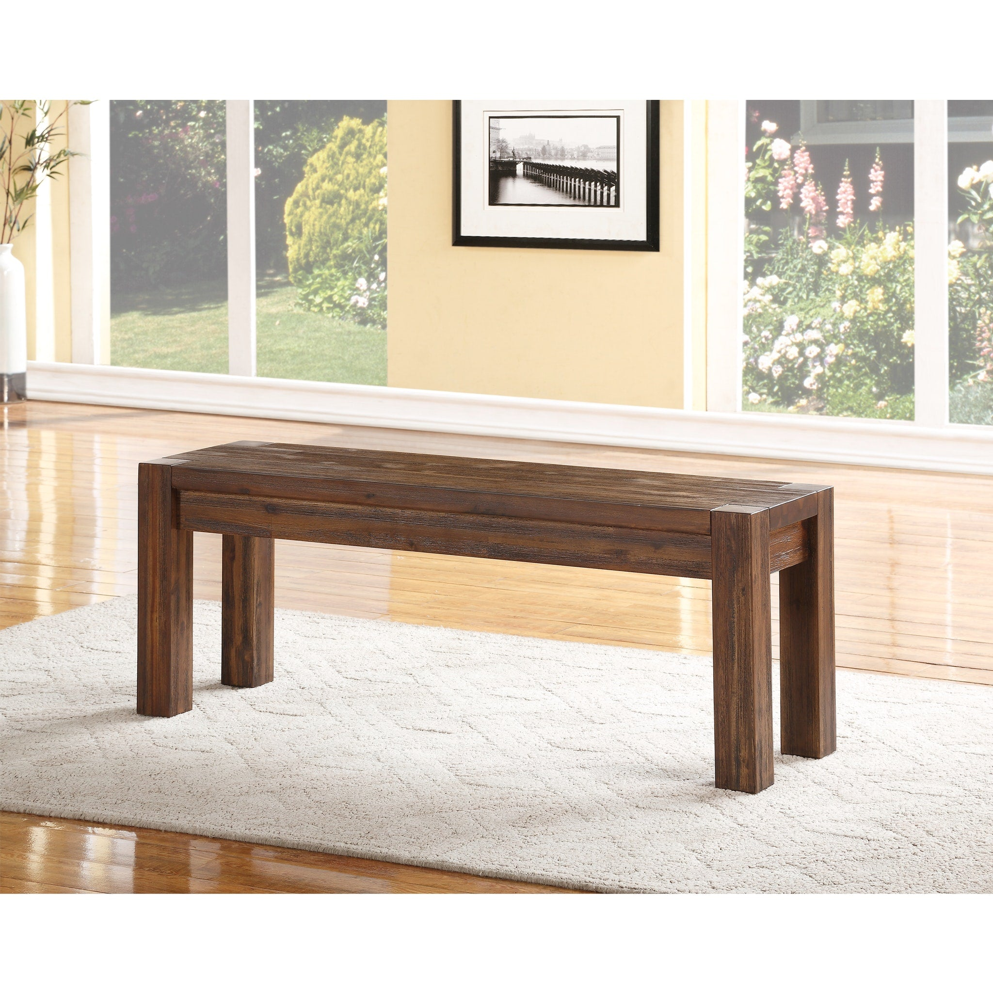 Meadow Solid wood Bench in Brick Brown