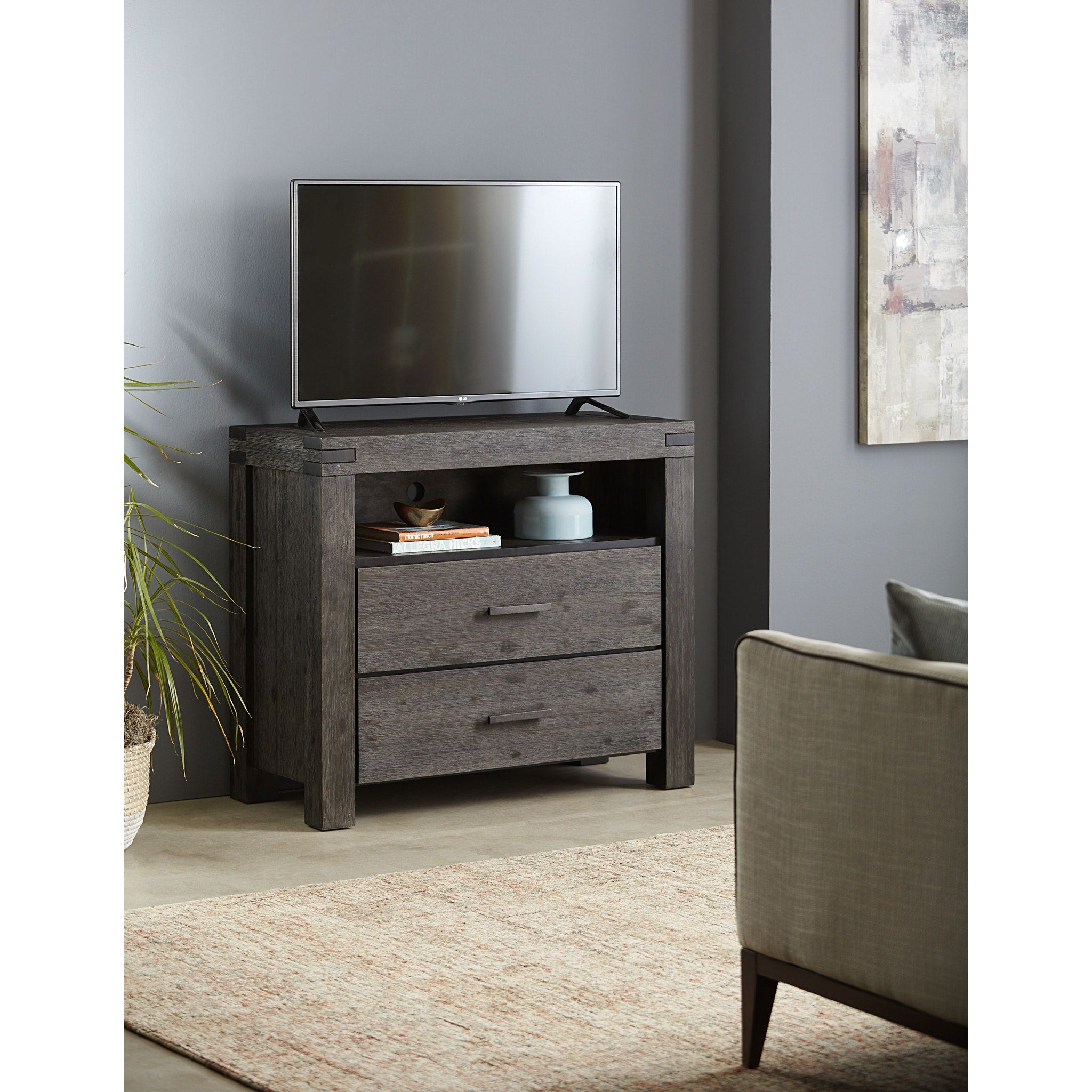 Meadow Two Drawer Solid Wood Media Chest in Graphite