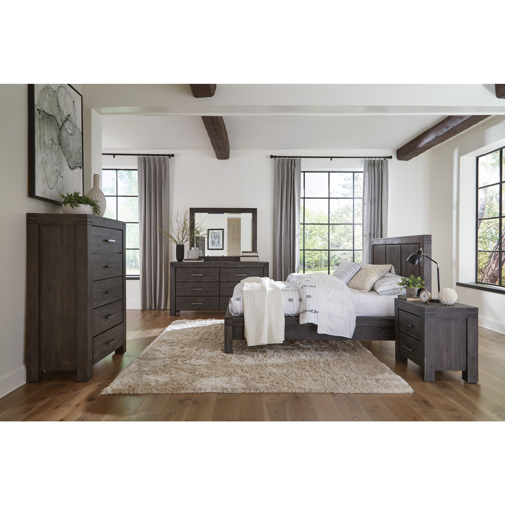Meadow Queen-Size Solid Wood Platform Bed in Graphite