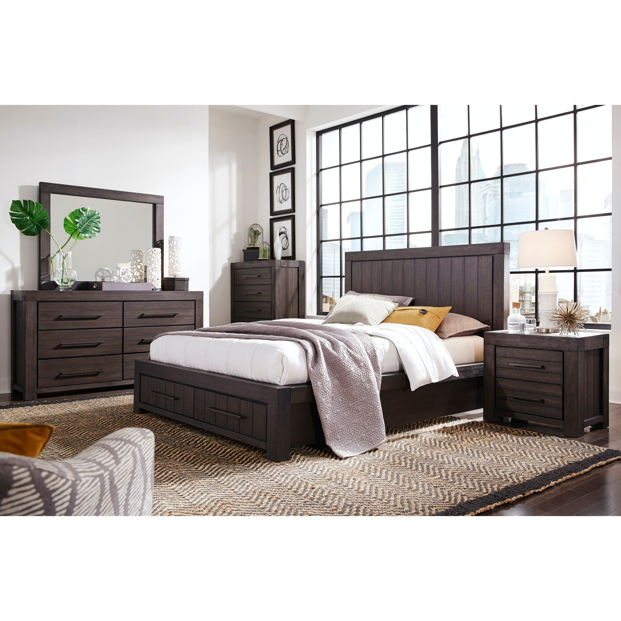 Heath Full-Size Two Drawer Storage Bed in Basalt Grey