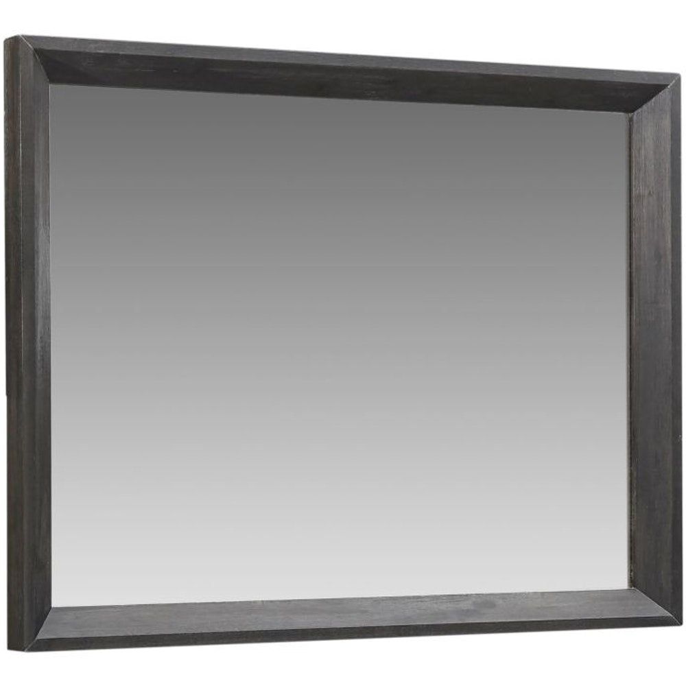 Chloe Solid Wood Beveled Glass Mirror in Basalt Grey