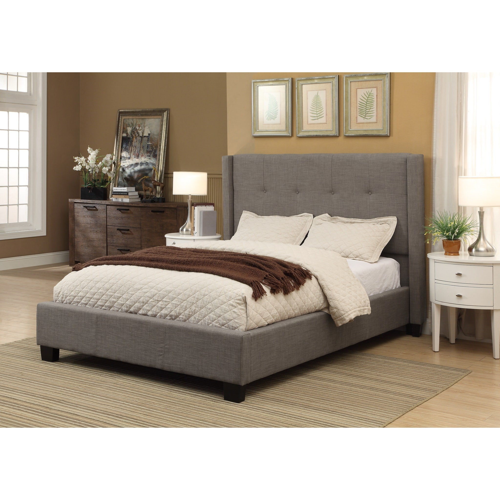 Madeleine Full-size Wingback Platform Storage Bed