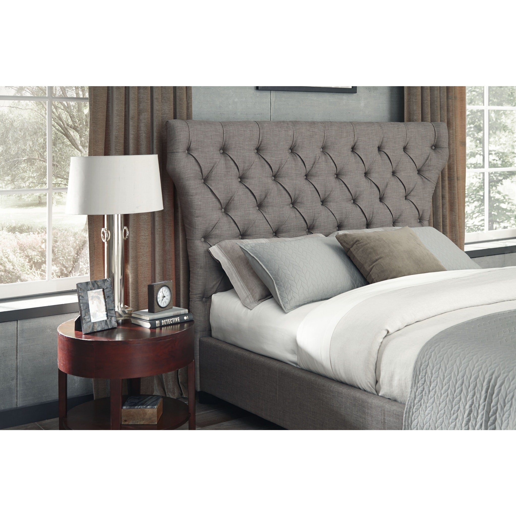 Melina California King Size Upholstered Headboard In Dolphin Linen Top Drawer Furniture