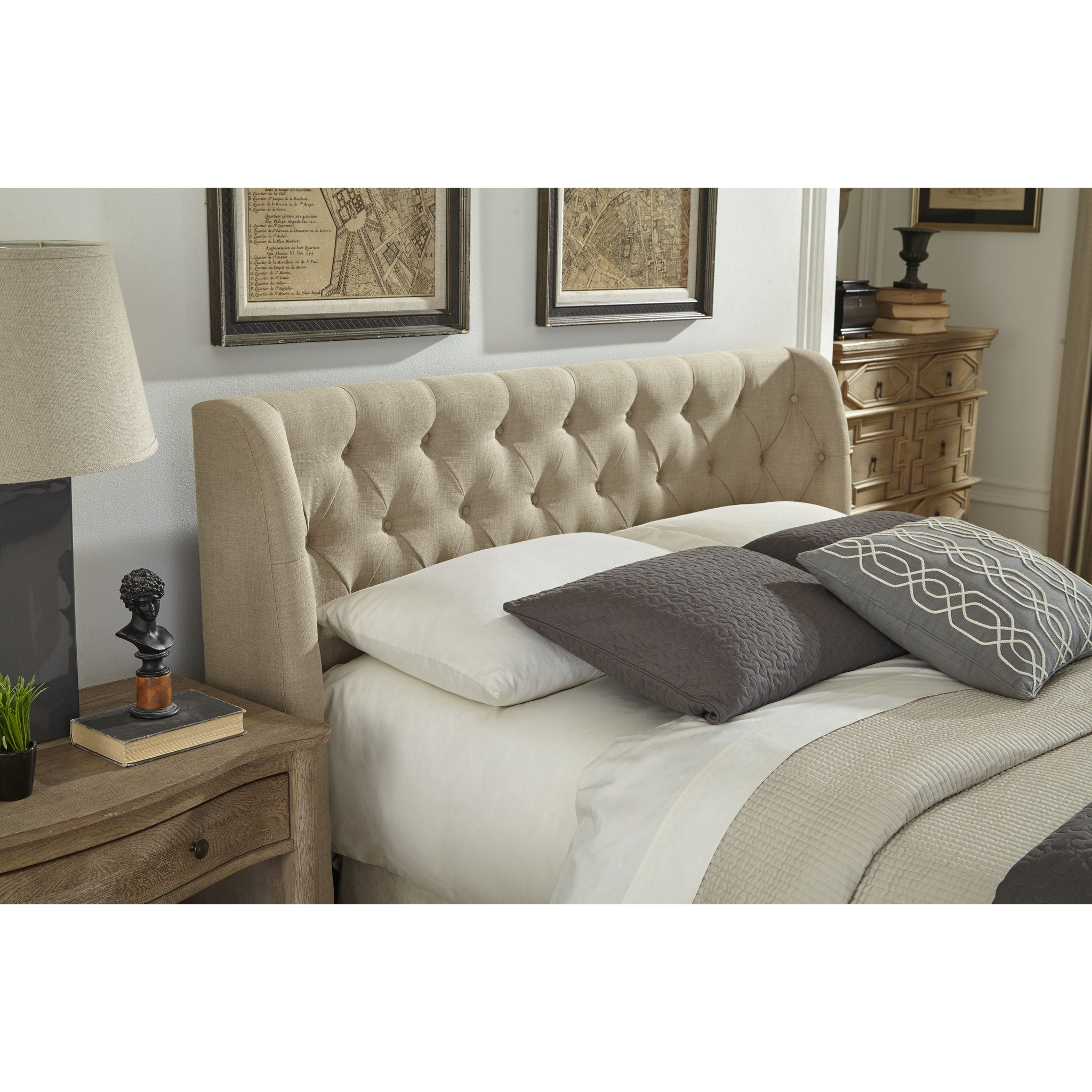 Levi King Size Tufted Storage Bed In Toast Linen Top Drawer Furniture