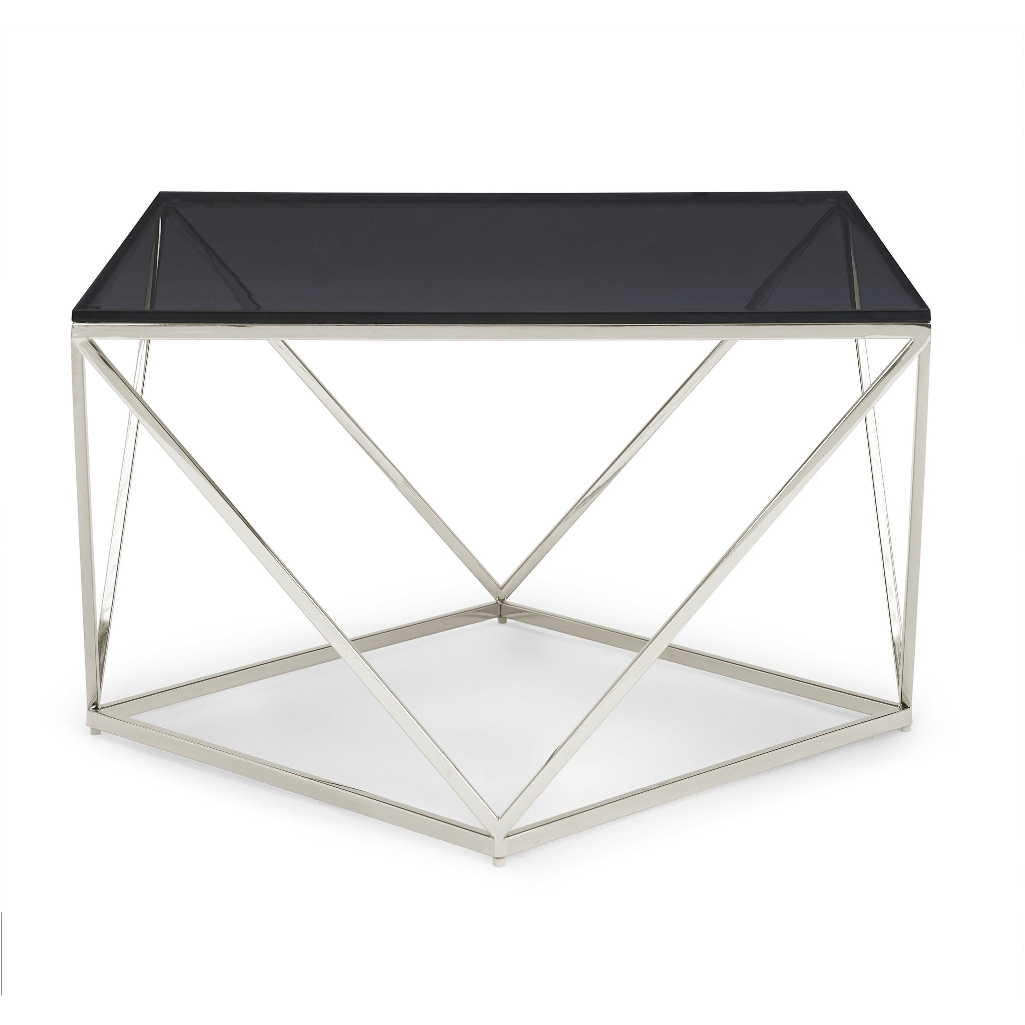 Aria Smoked Glass and Polished Stainless Steel Coffee Table