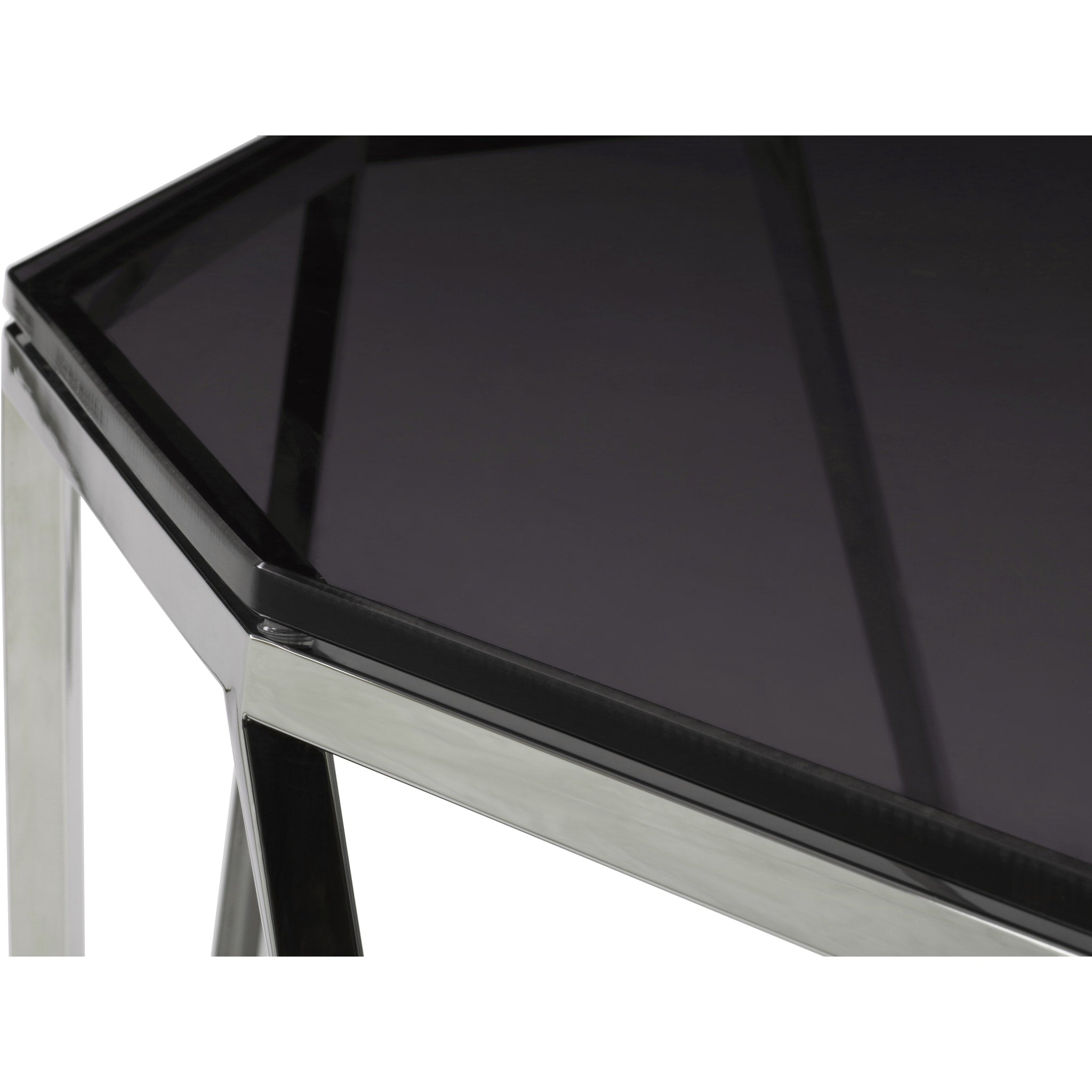 Aria Smoked Glass and Polished Stainless Steel Console Table