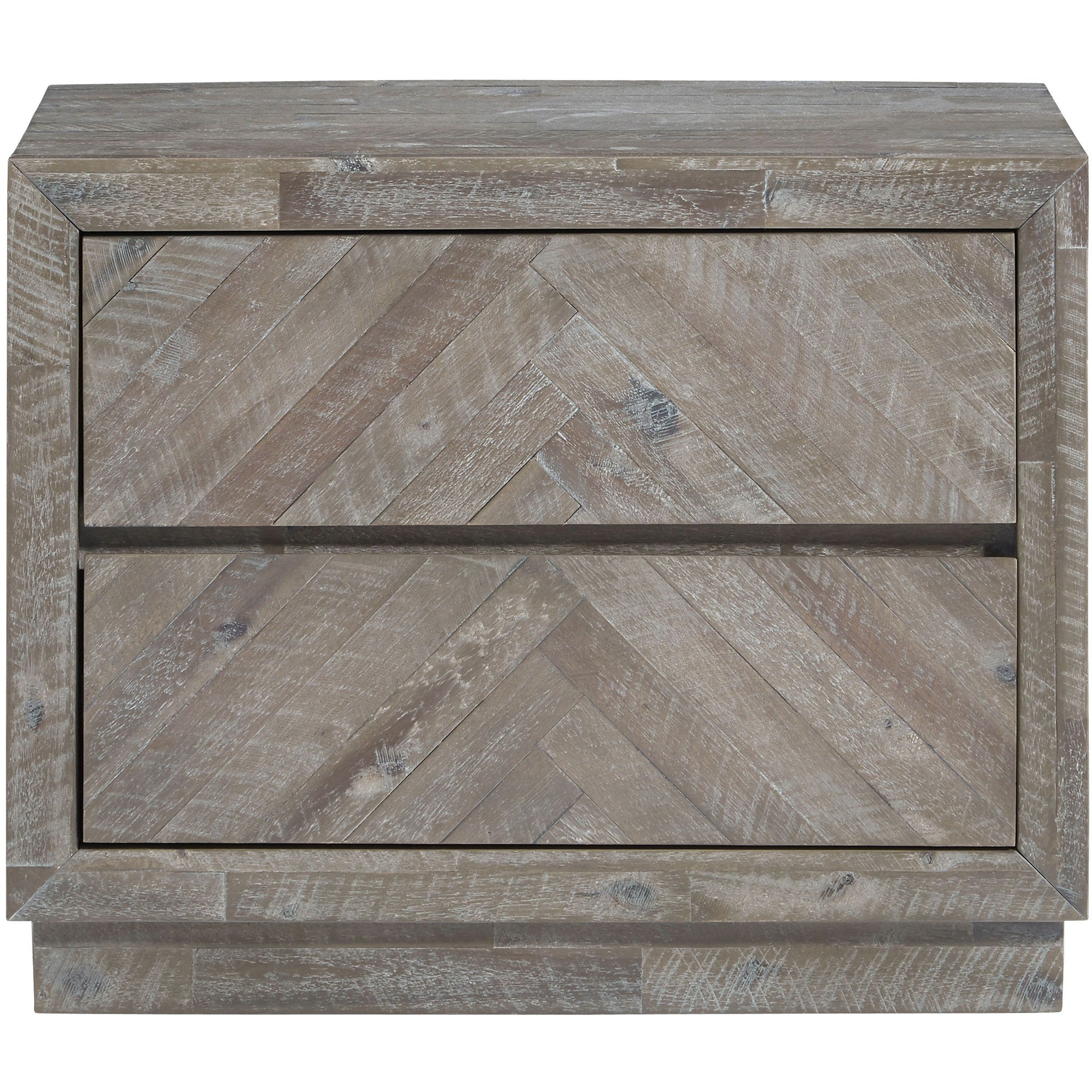 Herringbone Solid Wood Two Drawer Nightstand in Rustic Latte