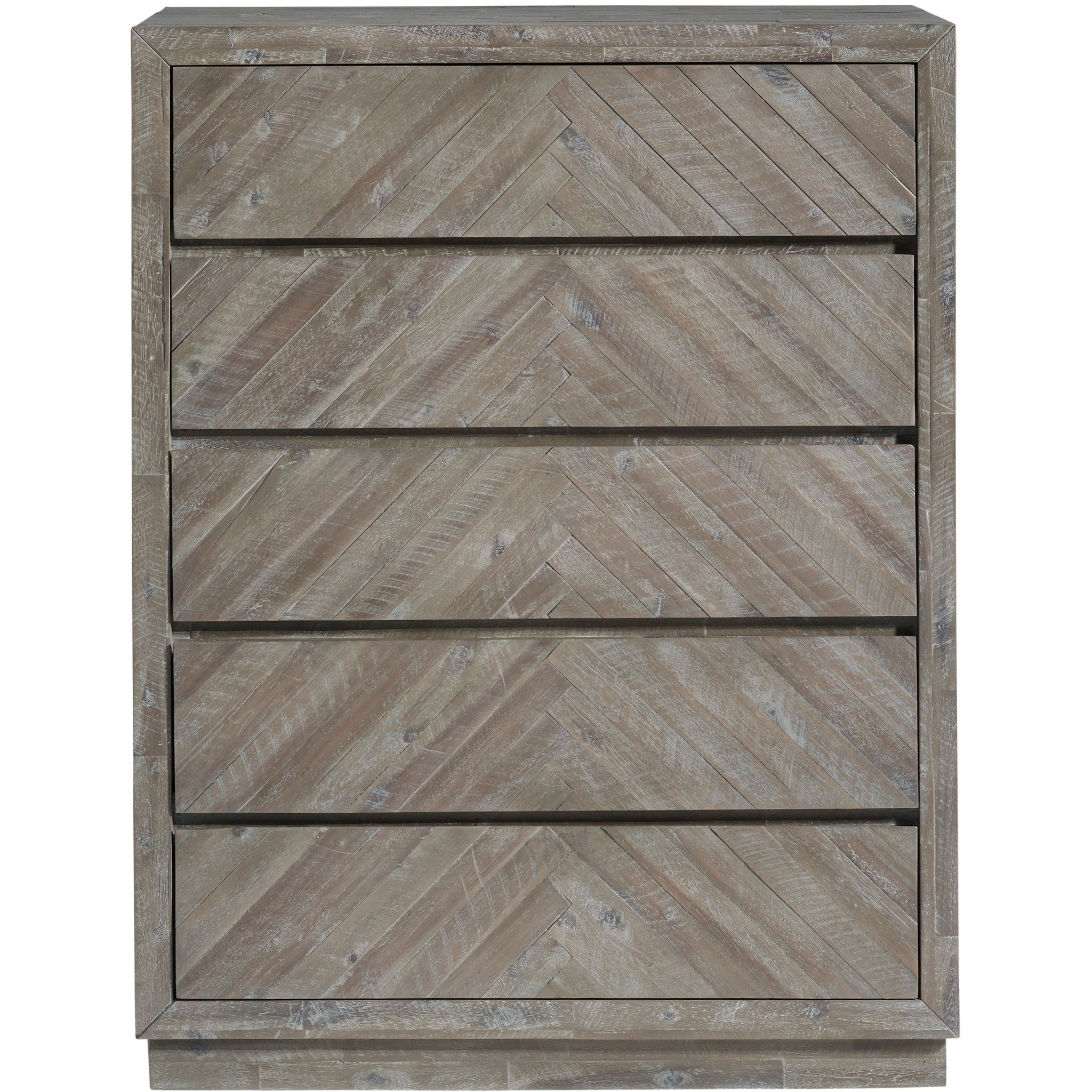 Herringbone Solid Wood 5 Drawer Chest in Rustic Latte