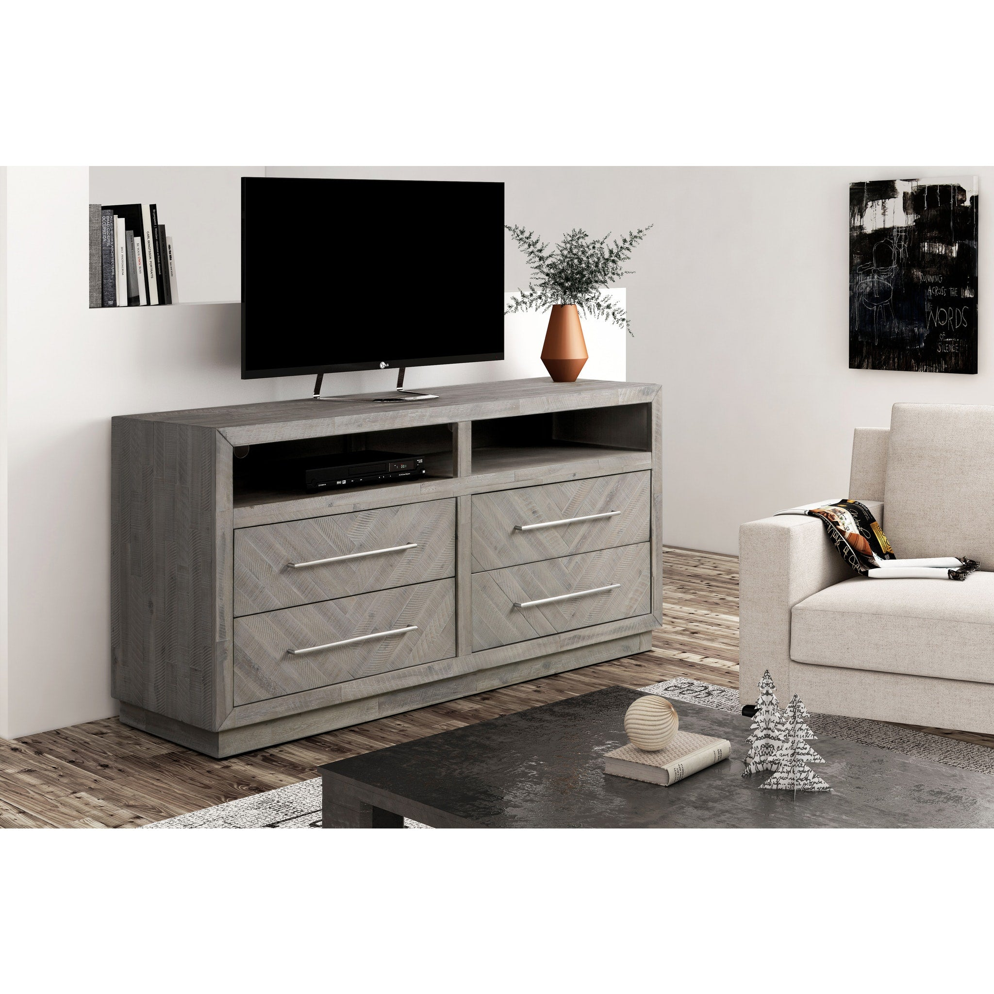 "Alexandra Solid Wood 64"" Media Console in Rustic Latte"