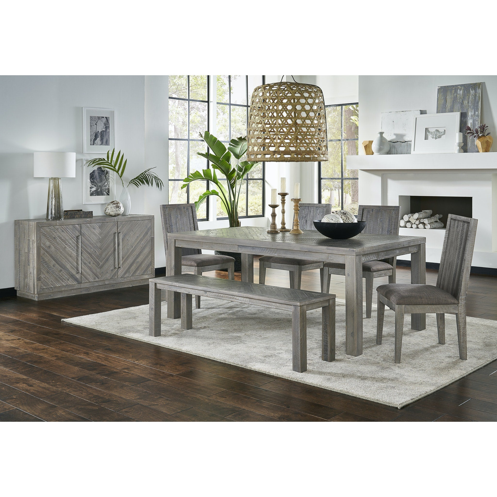 Alexandra Solid Wood Dining Bench in Rustic Latte