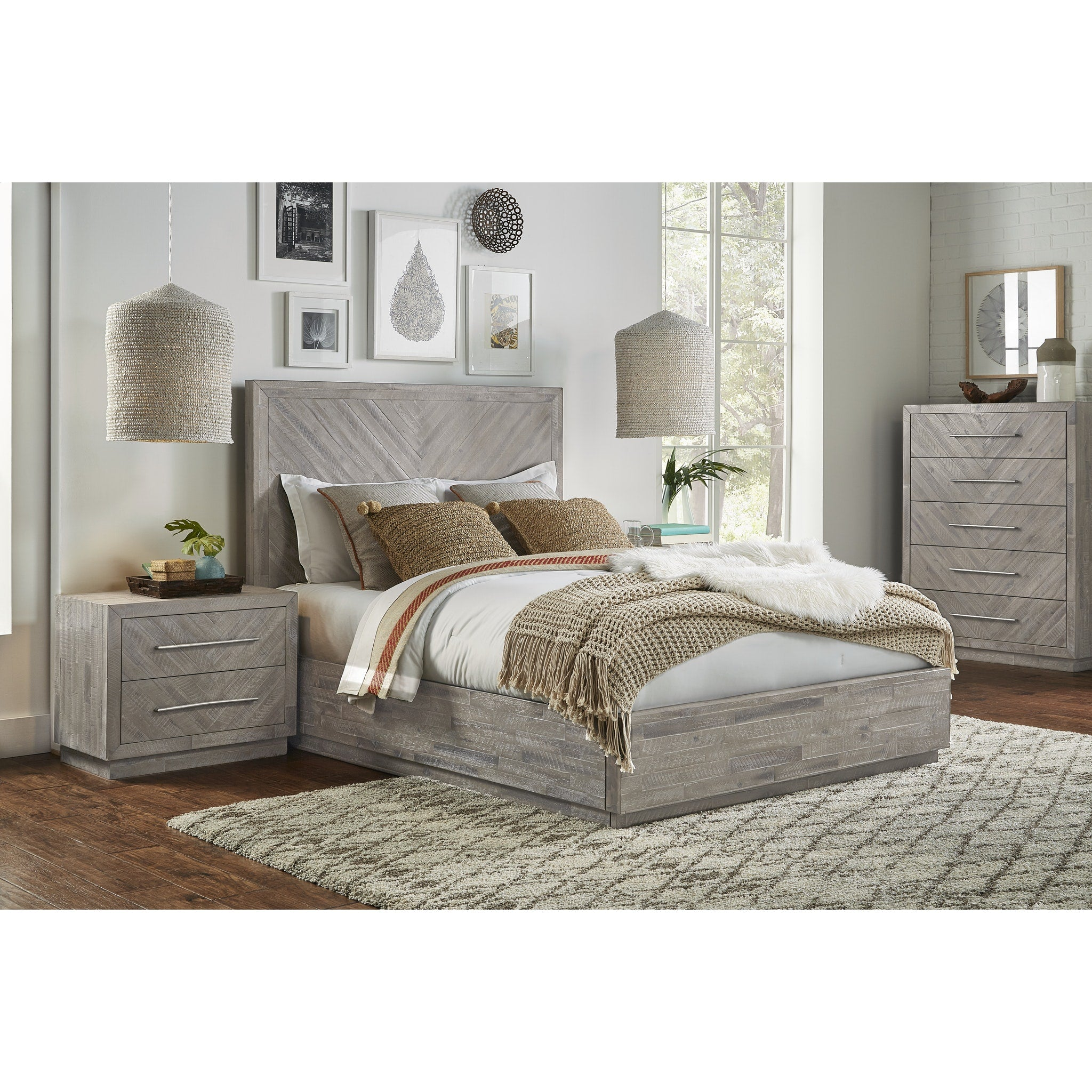 Alexandra King-Size Solid Wood Storage Bed in Rustic Latte