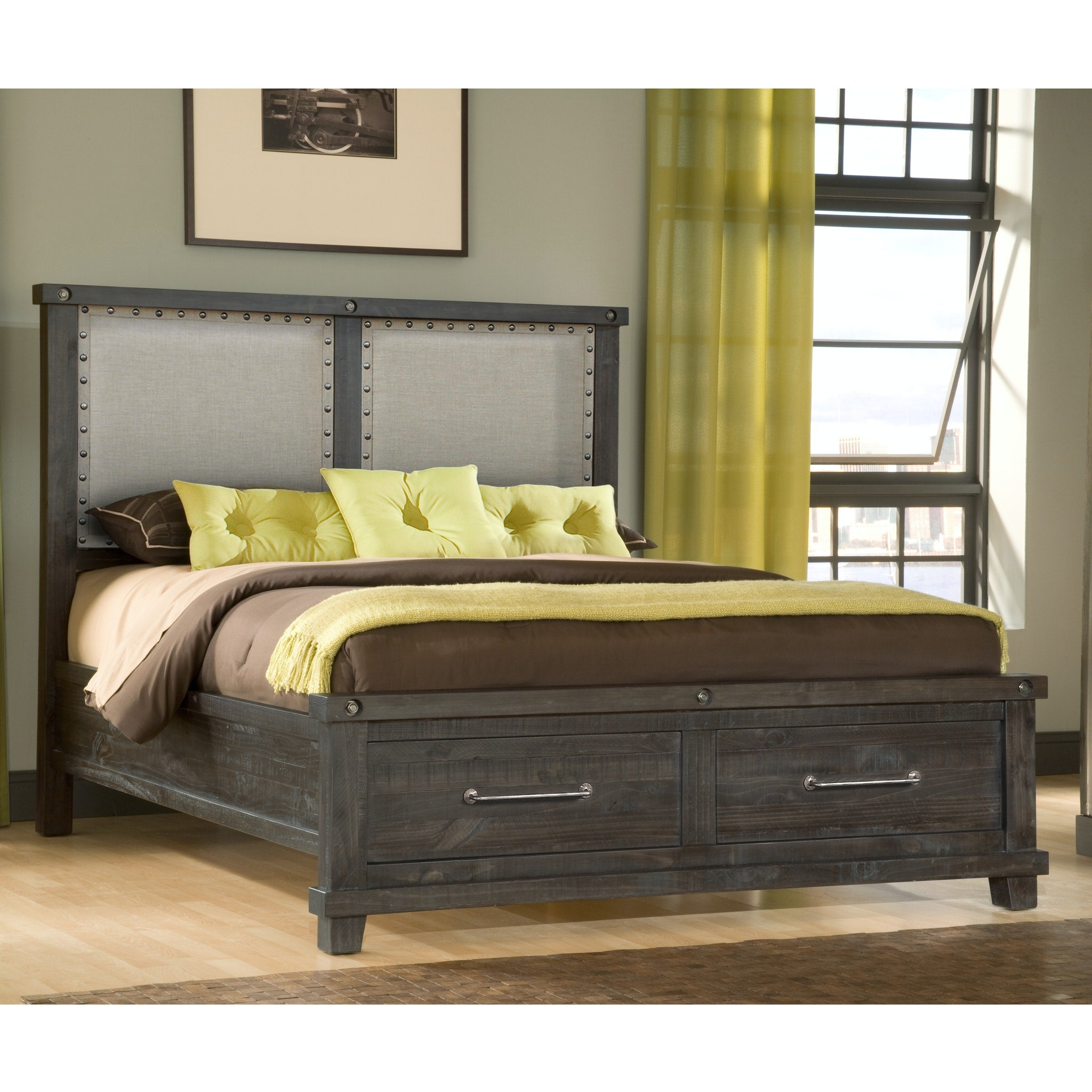 Yosemite California King-size Upholstered Footboard Storage Bed in Cafe