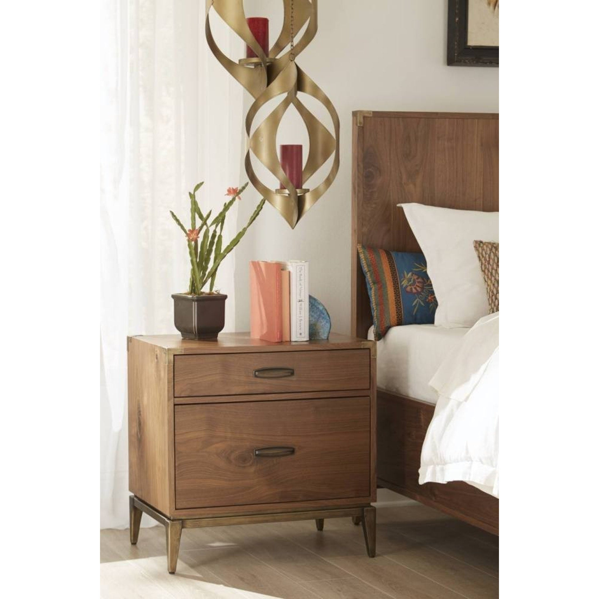 Adler Two Drawer Nightstand in Natural Walnut