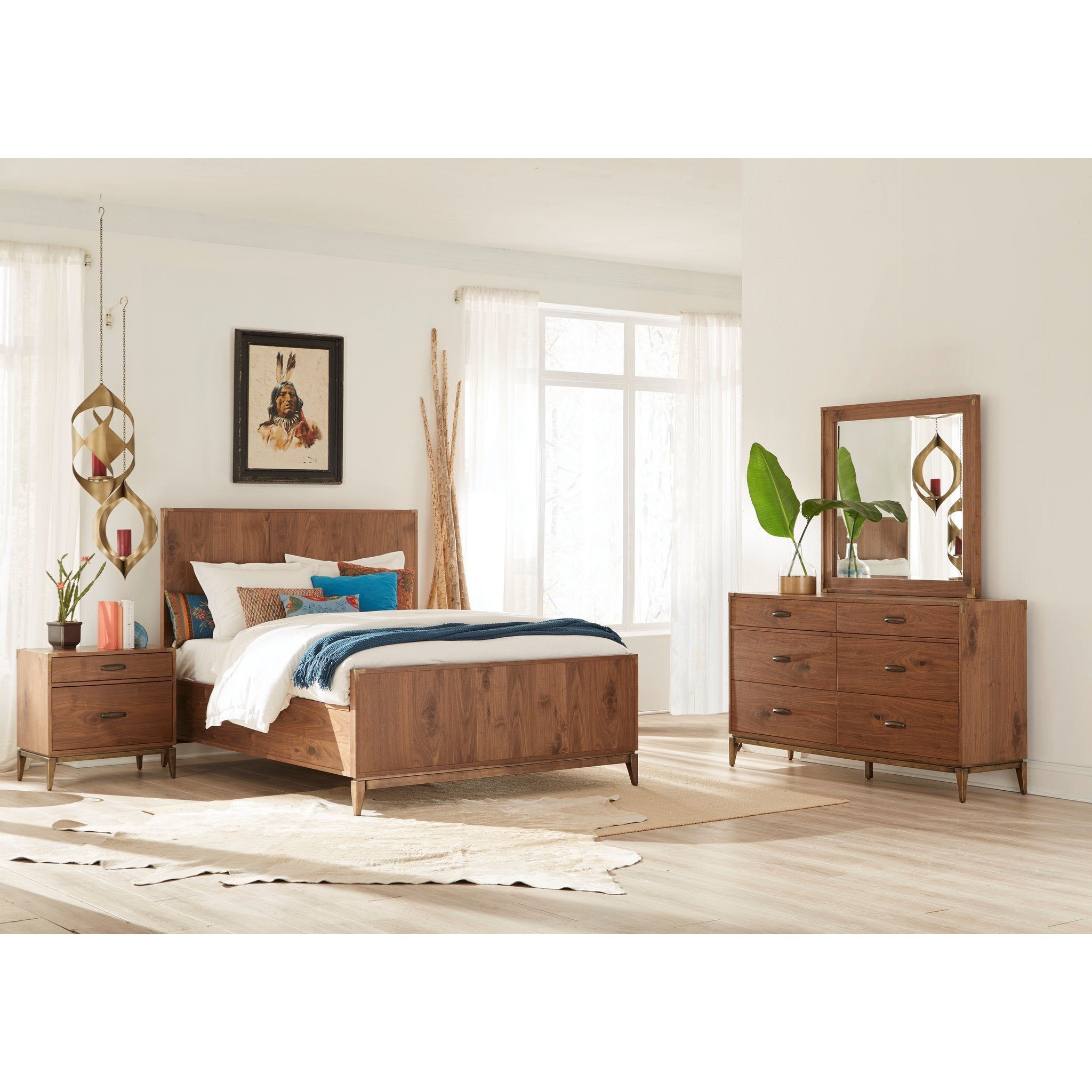 Adler California King-size Panel Bed in Natural Walnut