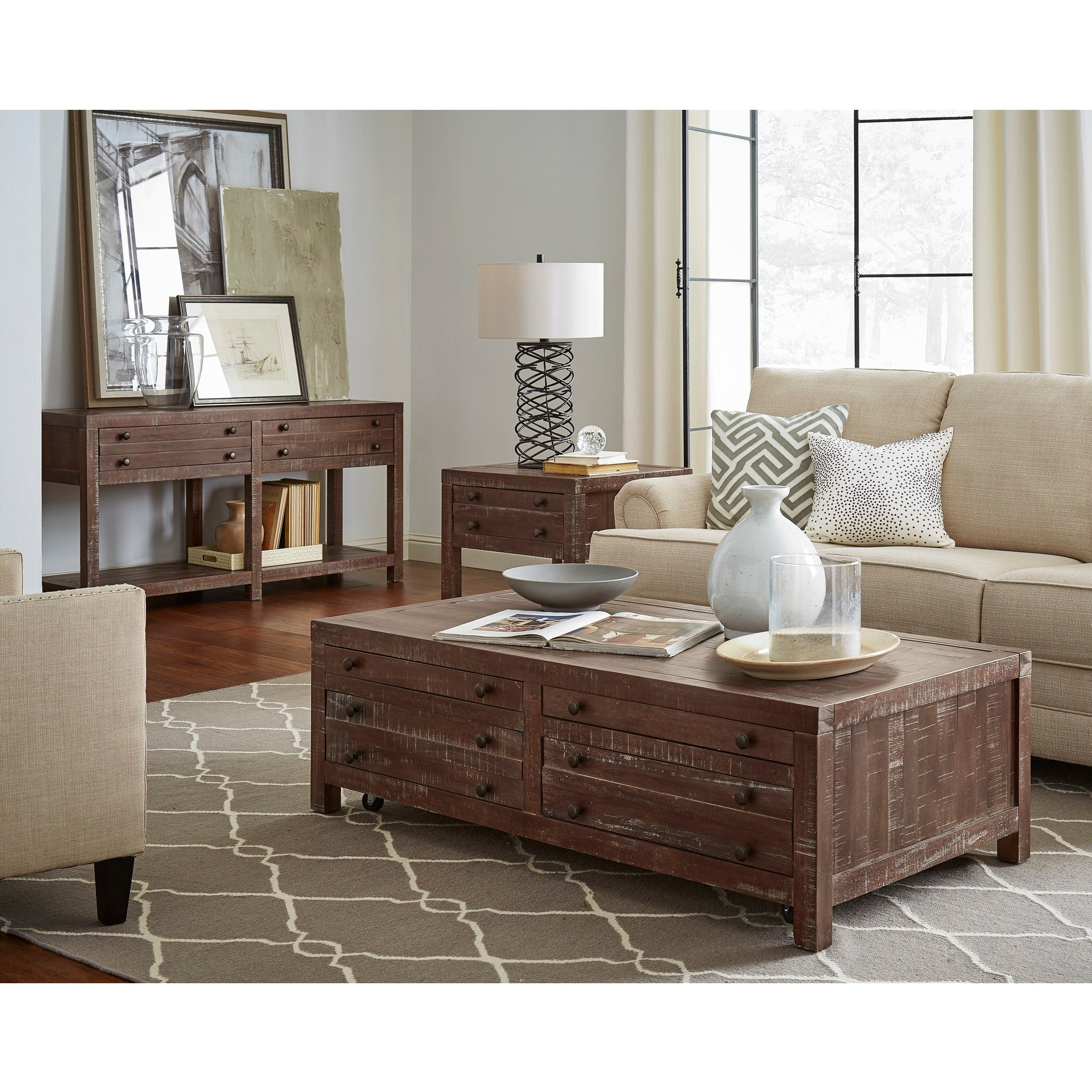 Townsend Solid Wood Castered Coffee Table in Java