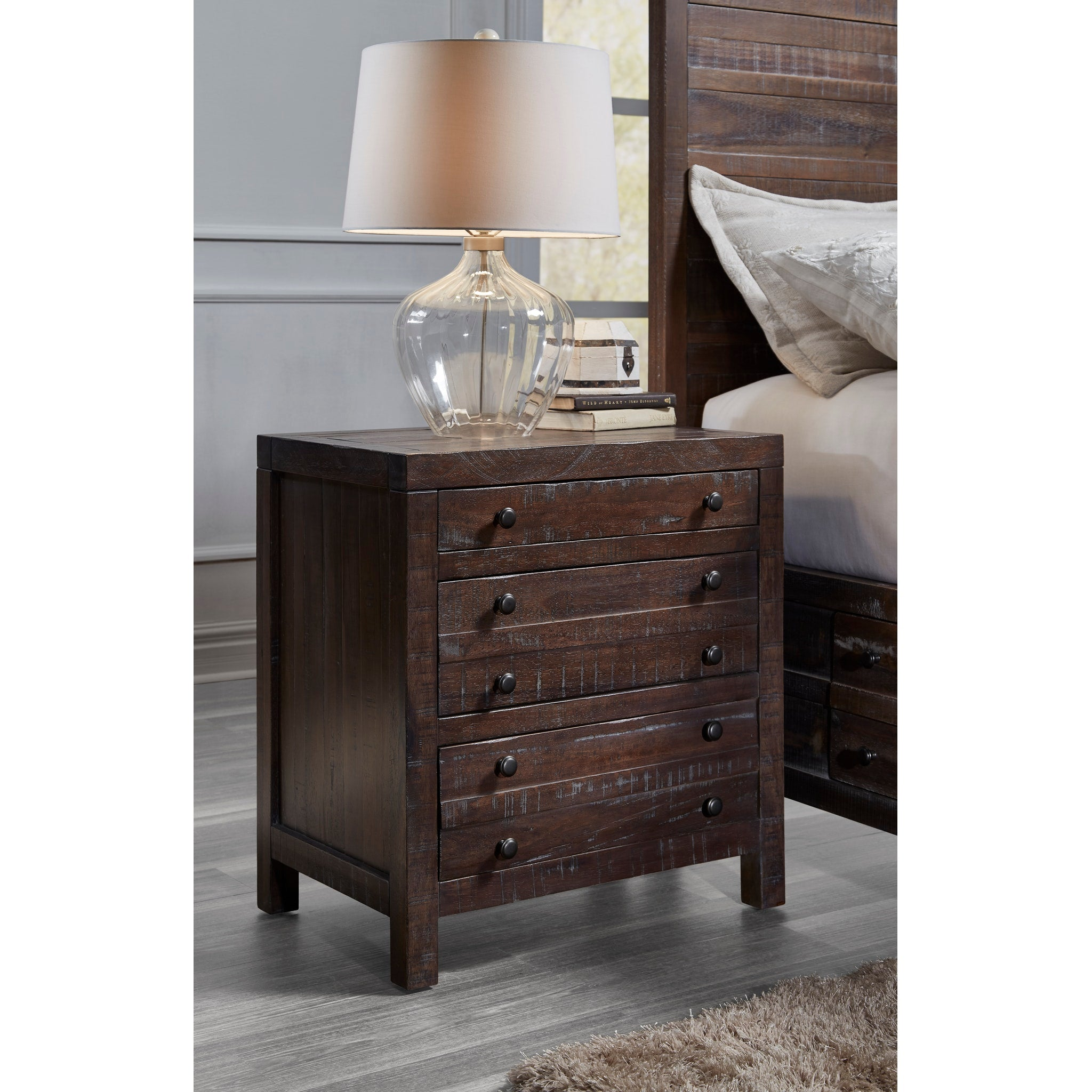 Townsend Three Drawer Solid Wood Nightstand in Java