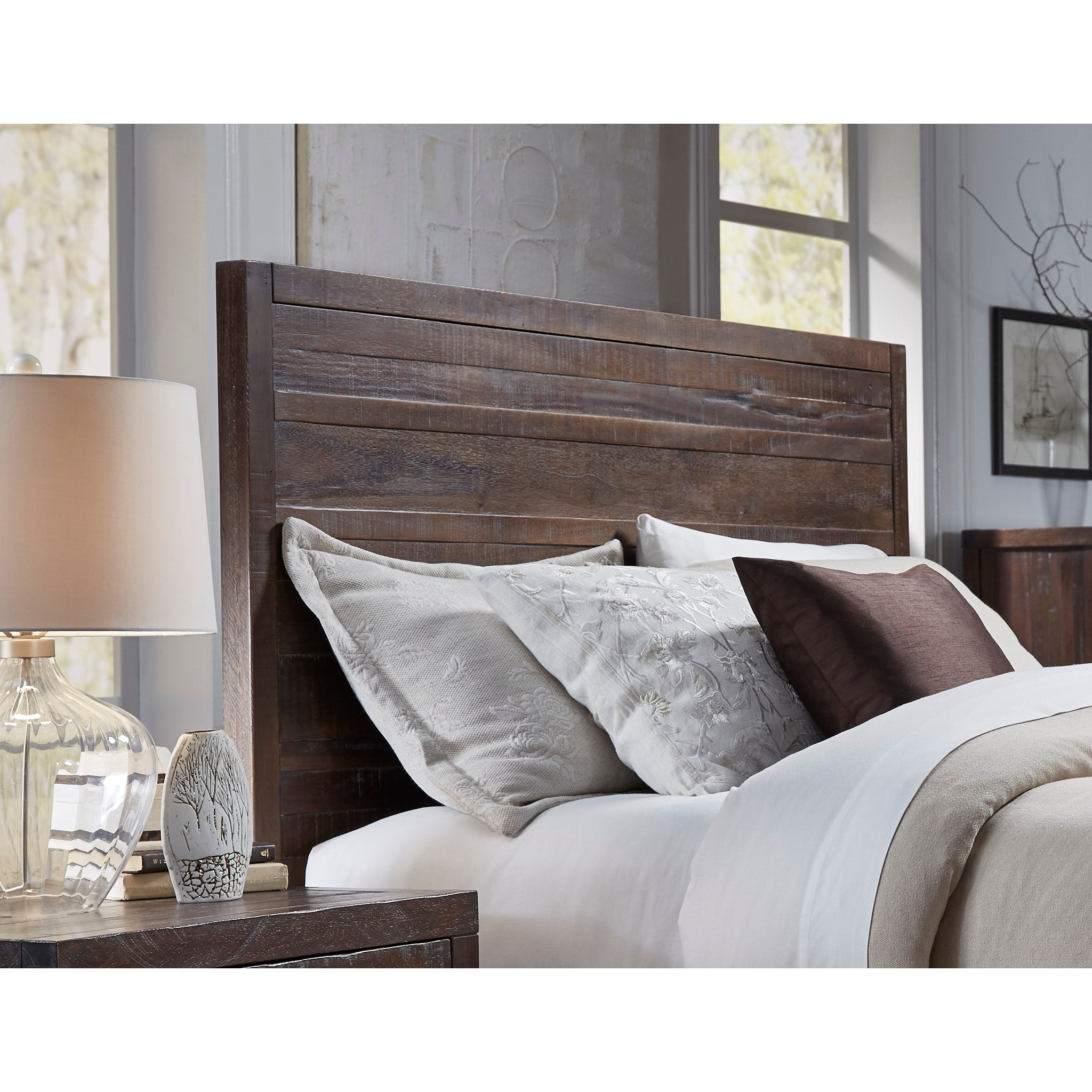 Townsend Queen-size Solid Wood Panel Bed in Java