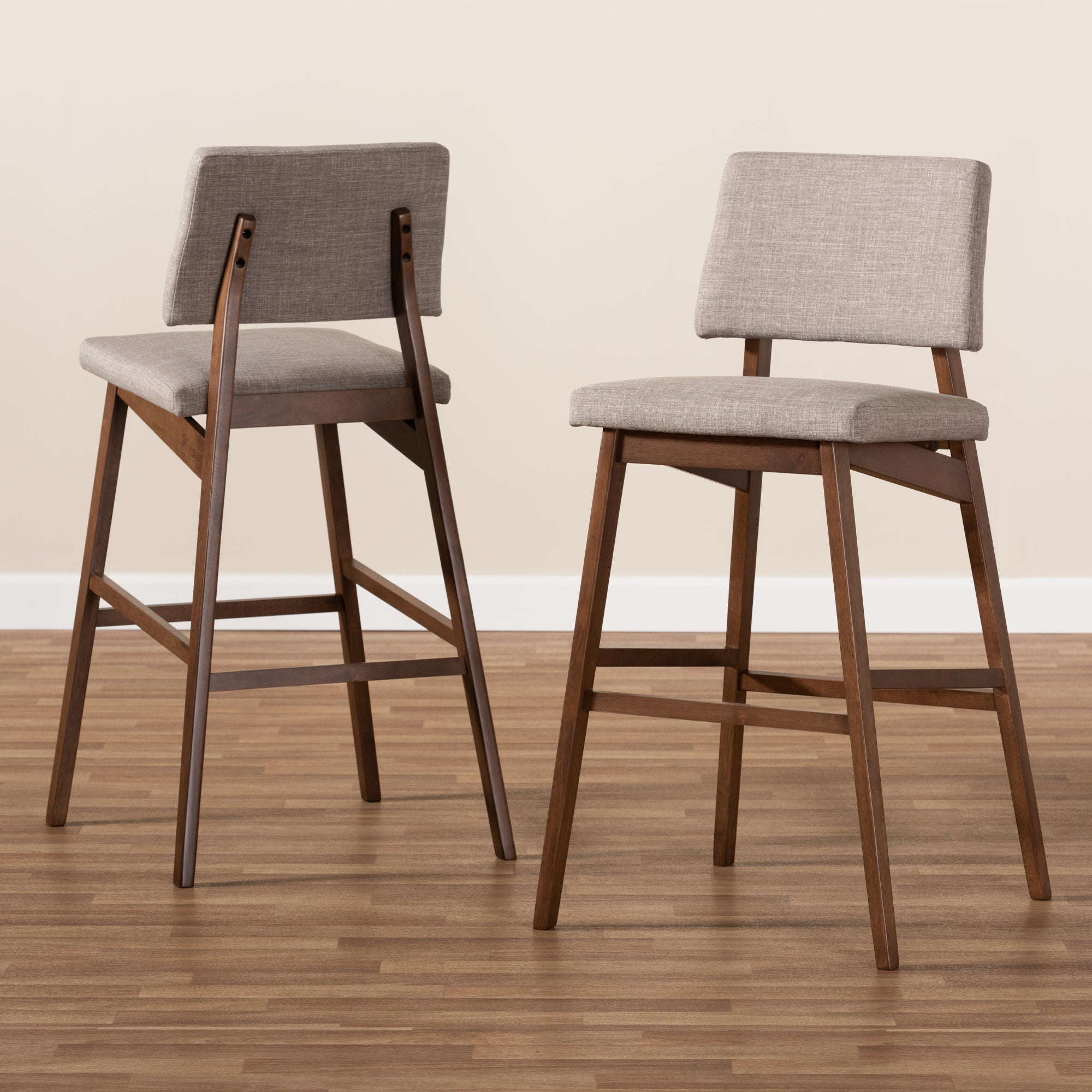 Colton Mid-Century Modern Light Gray Fabric Upholstered and Walnut-Finished Wood Bar Stool Set of 2