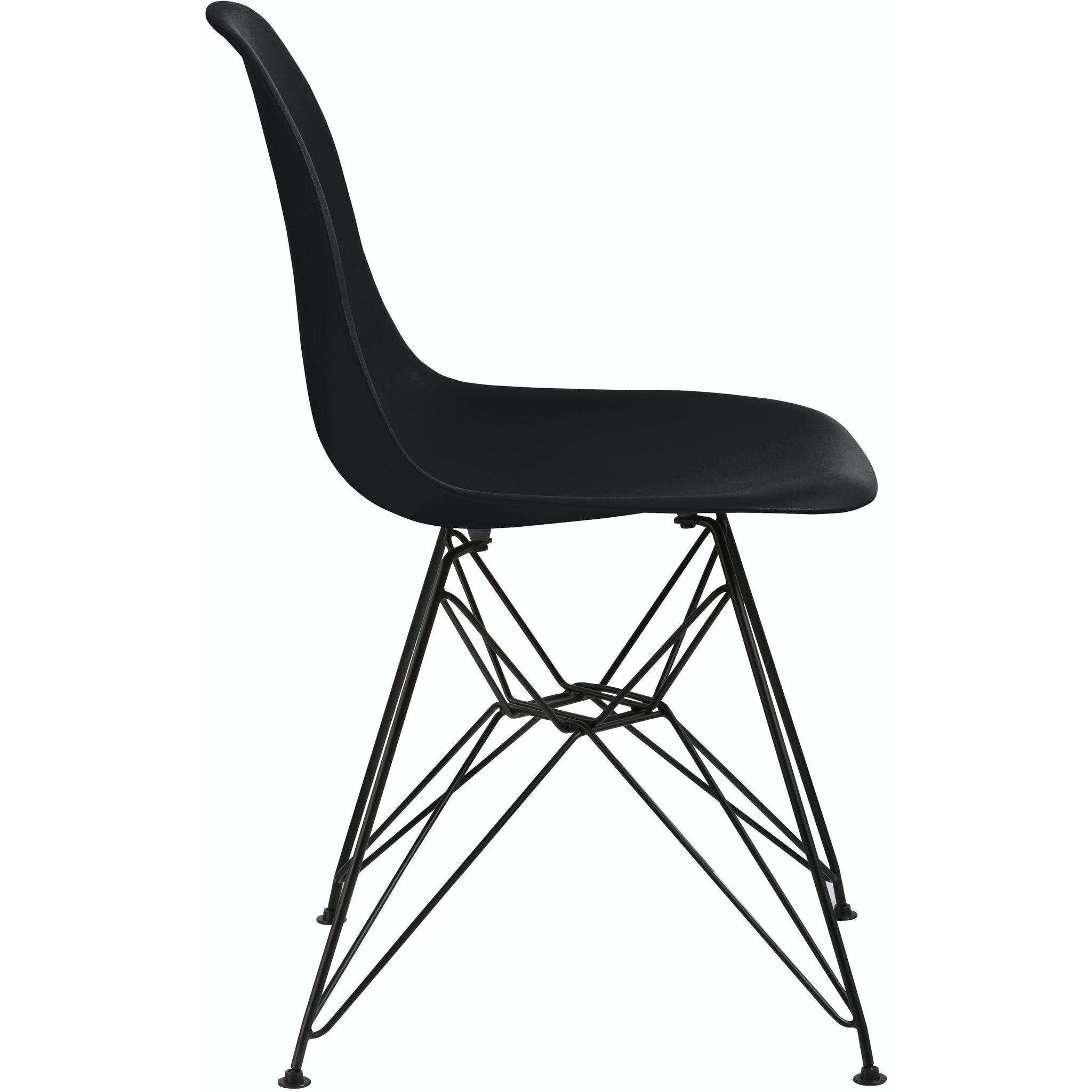 Rostock Molded Plastic Wire Base Dining Chair in Black
