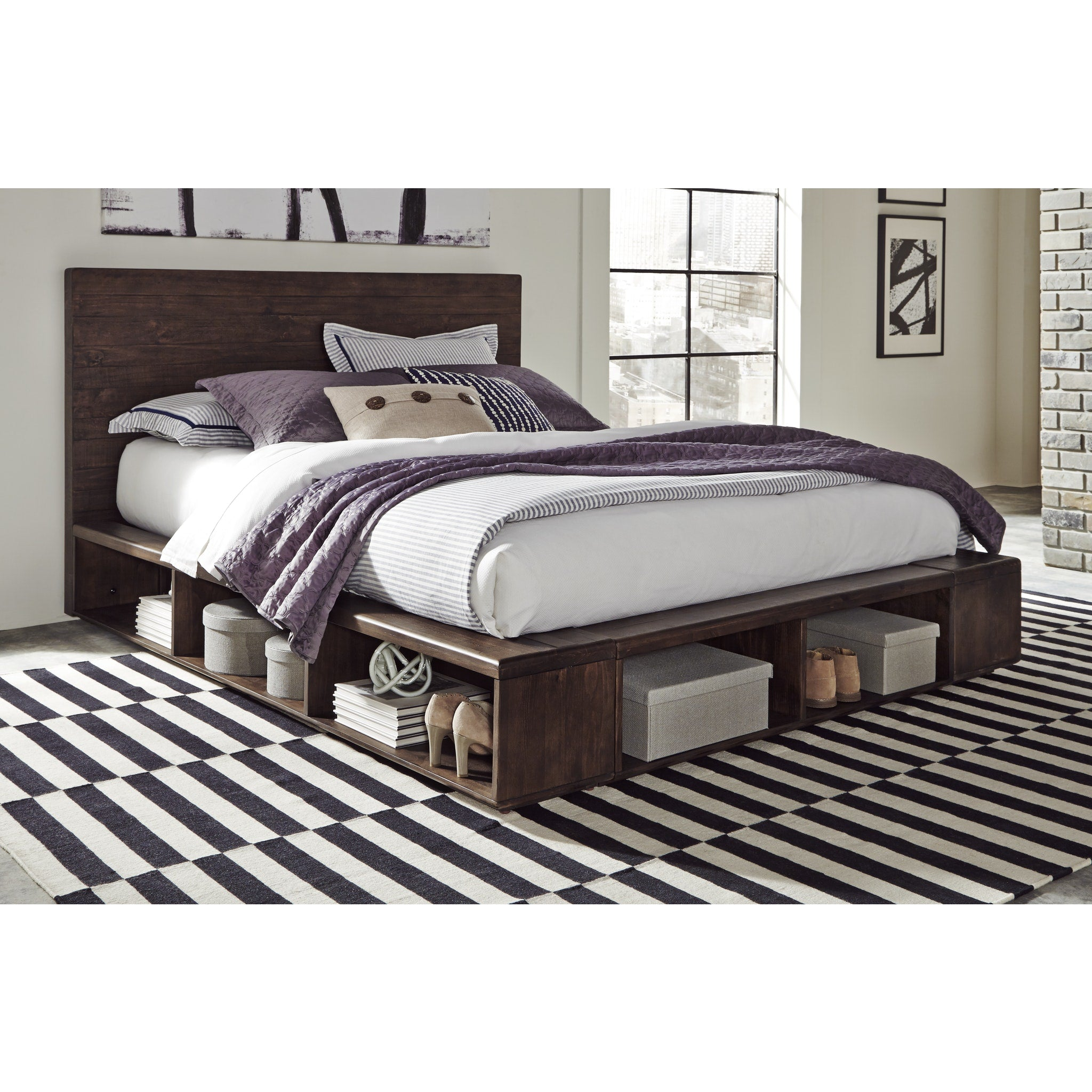 McKinney King-size Solid Wood Low Platform Storage Bed in Espresso Pine