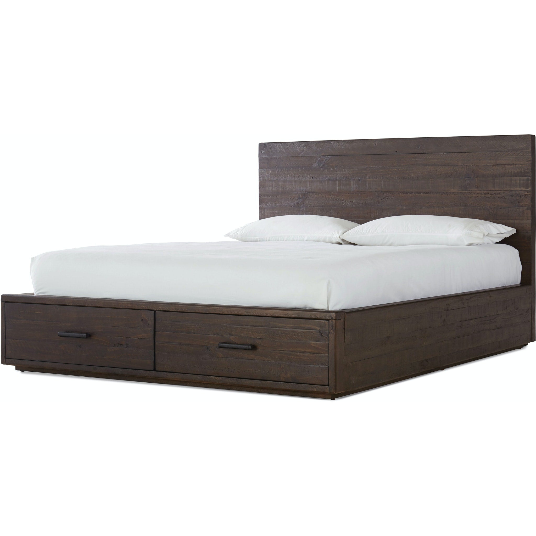 McKinney Full-Size Solid Wood Storage Bed in Rustic Latte