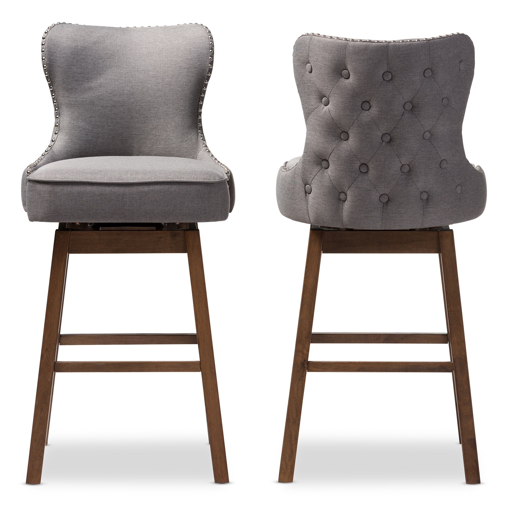 Gradisca Modern and Contemporary Brown Wood Finishing and Grey Fabric Button-Tufted Upholstered Swivel Barstool