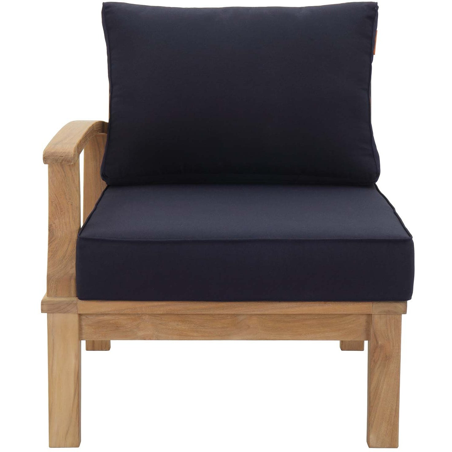 Marina Outdoor Patio Teak Left-Facing Sofa - Natural Navy