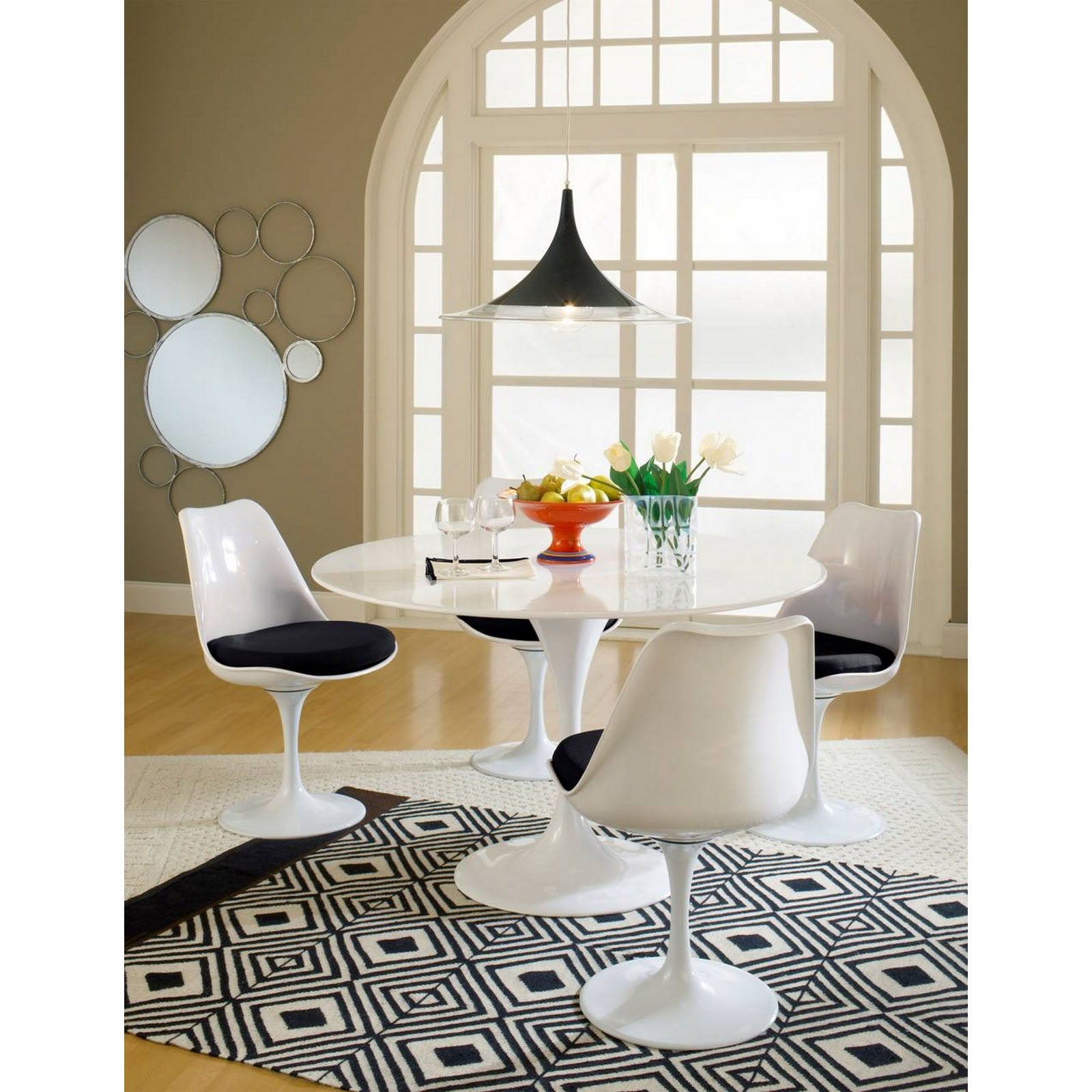 Lippa Dining Side Chair Fabric Set of 4 - Black